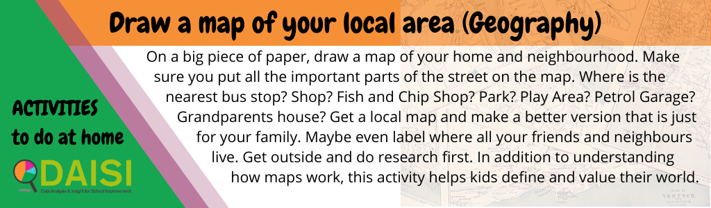 On a big piece of paper, draw a map of your home and neighbourhood. Make sure you put all the important parts of the street on the map. Where is the nearest bus stop? Shop? Fish and Chip Shop? Park? Play Area? Petrol Garage? Grandparents house? Get a local map and make a better version that is just for your family. Maybe even label where all your friends and neighbours live. Get outside and do research first. In addition to understanding how maps work, this activity helps kids define and value their world.