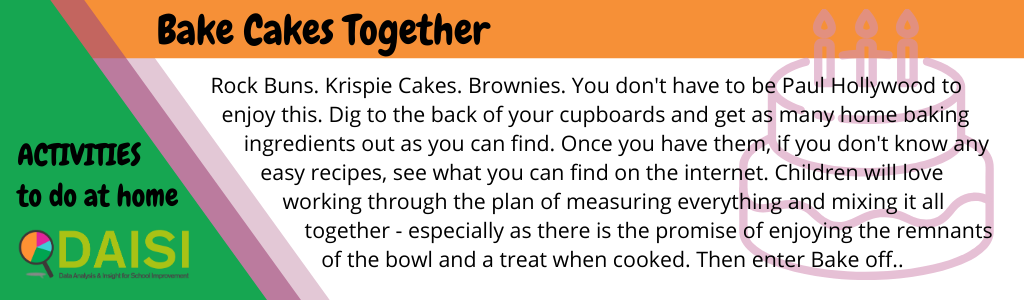 ock Buns. Krispie Cakes. Brownies. You don't have to be Paul Hollywood to enjoy this. Dig to the back of your cupboards and get as many home baking ingredients out as you can find. Once you have them, if you don't know any easy recipes, see what you can find on the internet. Children will love working through the plan of measuring everything and mixing it all together - especially as there is the promise of enjoying the remnants of the bowl and a treat when cooked. Then enter Bake off..