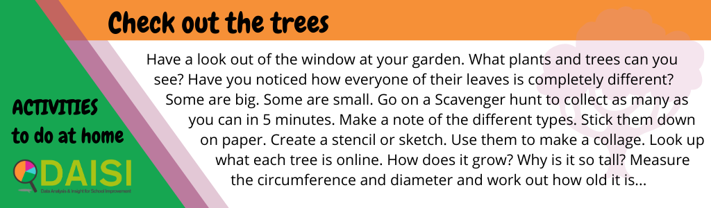 Have a look out of the window at your garden. What plants and trees can you see? Have you noticed how everyone of their leaves is completely different? Some are big. Some are small. Go on a Scavenger hunt to collect as many as you can in 5 minutes. Make a note of the different types. Stick them down on paper. Create a stencil or sketch. Use them to make a collage. Look up what each tree is online. How does it grow? Why is it so tall? Measure the circumference and diameter and work out how old it is...